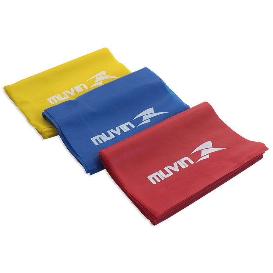Kit De 3 Faixas Elásticas Tipo Thera Band C/ 3 Níveis - Muvin   - PRALUTA SHOP