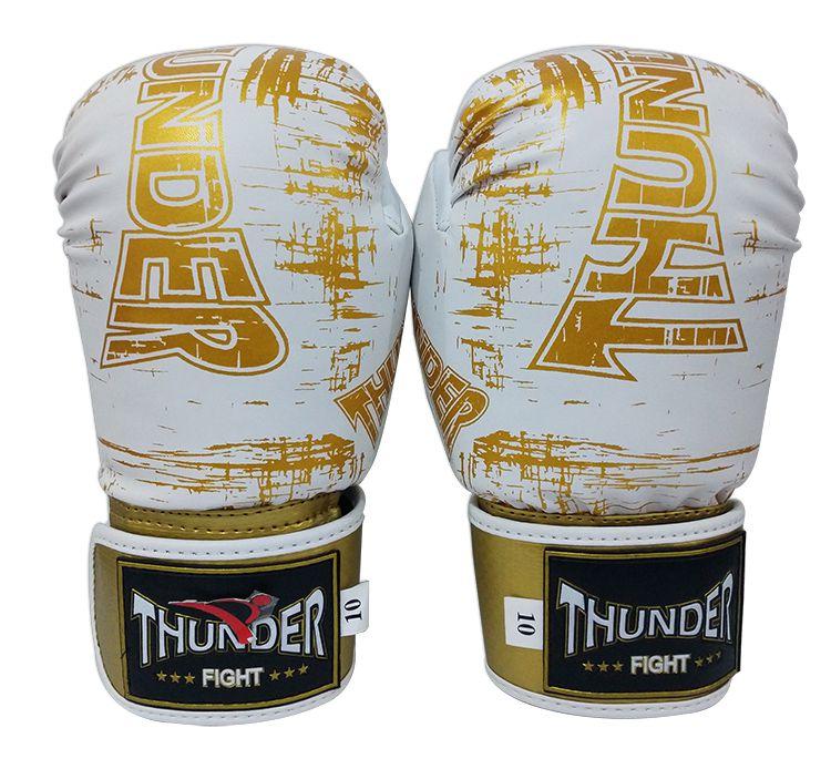 Kit de Boxe / Muay Thai 10oz - Branco Riscado Dourado - Thunder Fight   - PRALUTA SHOP