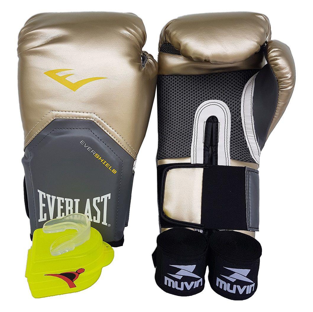 Kit de Boxe / Muay Thai 10oz - Dourado - Pro Style - Everlast  - PRALUTA SHOP