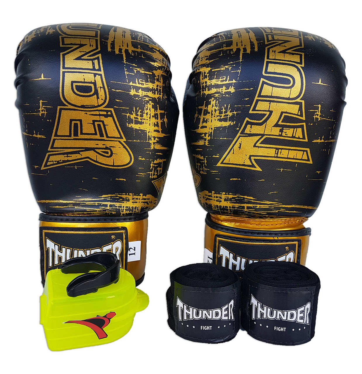 Kit de Boxe / Muay Thai 10oz - Preto Riscado - Thunder Fight   - PRALUTA SHOP