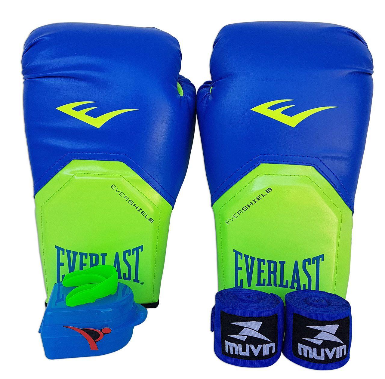 4a5b3efc1 Kit de Boxe   Muay Thai 12oz - Azul com Verde - Pro Style - Everlast ...