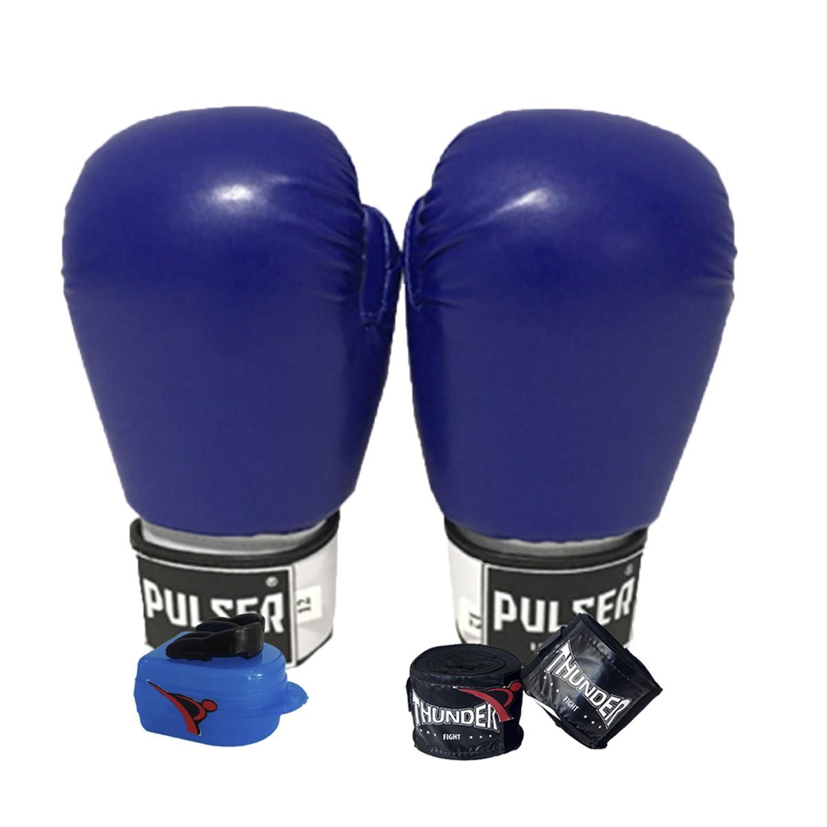Kit de Boxe / Muay Thai 12oz - Azul - Pulser  - PRALUTA SHOP