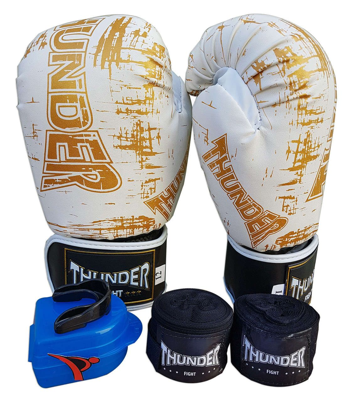 Kit de Boxe / Muay Thai 12oz - Branco Riscado - Thunder Fight   - PRALUTA SHOP