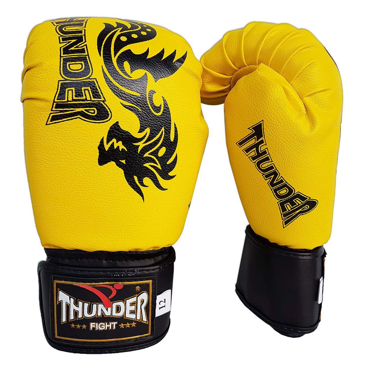 Kit de Boxe / Muay Thai 12oz - Dragão Amarelo - Thunder Fight   - PRALUTA SHOP