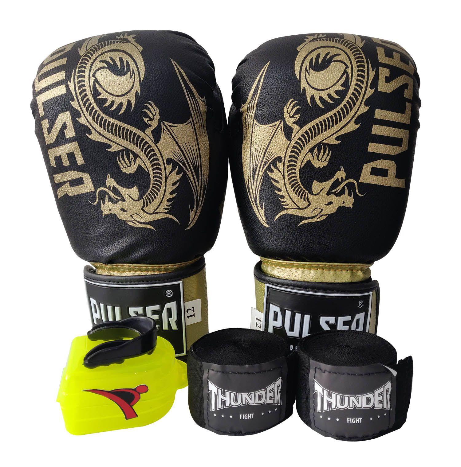 Kit de Boxe / Muay Thai 12oz - Dragão Preto / Dourado Riscado - Pulser  - PRALUTA SHOP