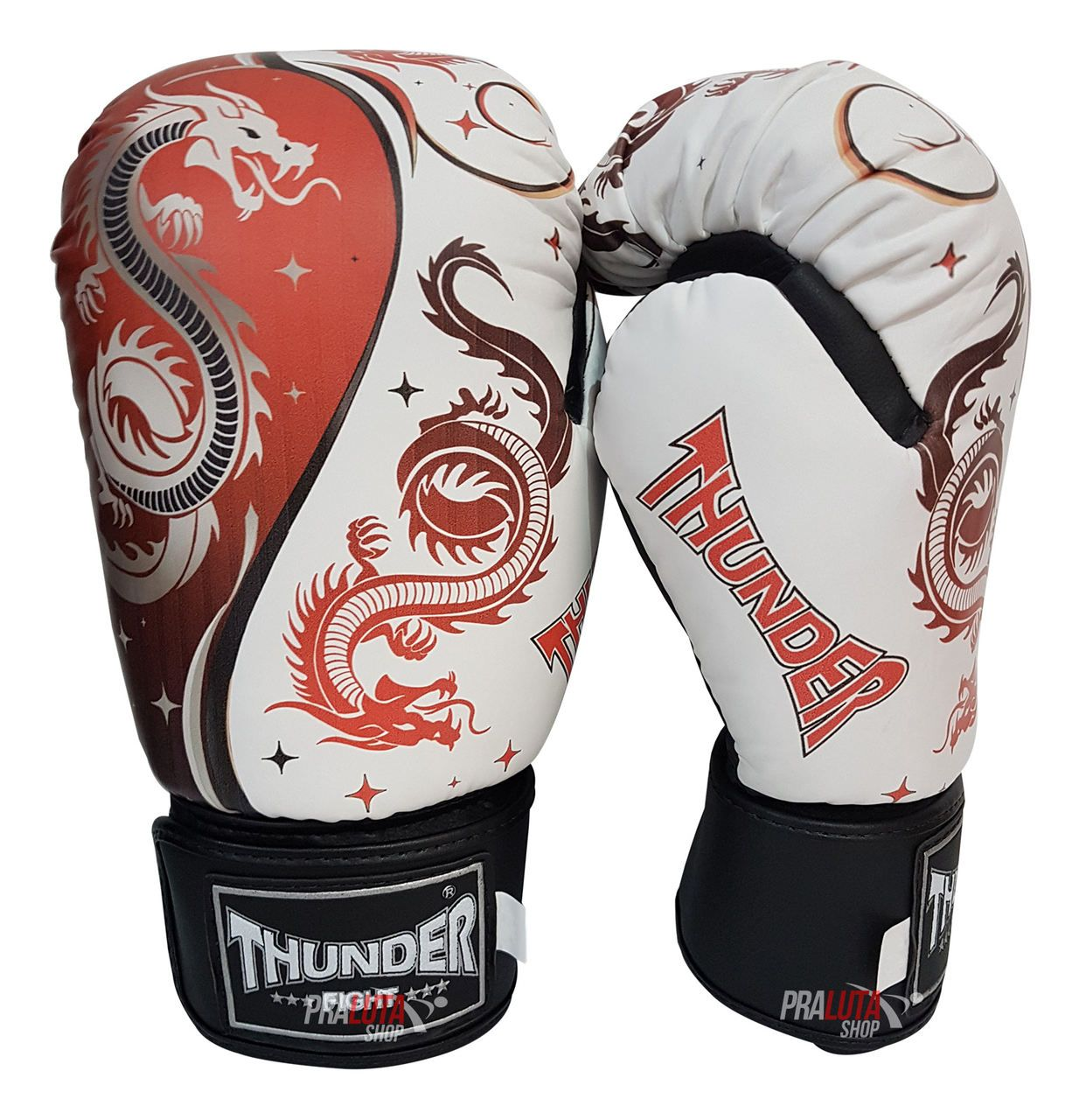 Kit de Boxe / Muay Thai 12oz - Dragão Vermelho - Thunder Fight   - PRALUTA SHOP