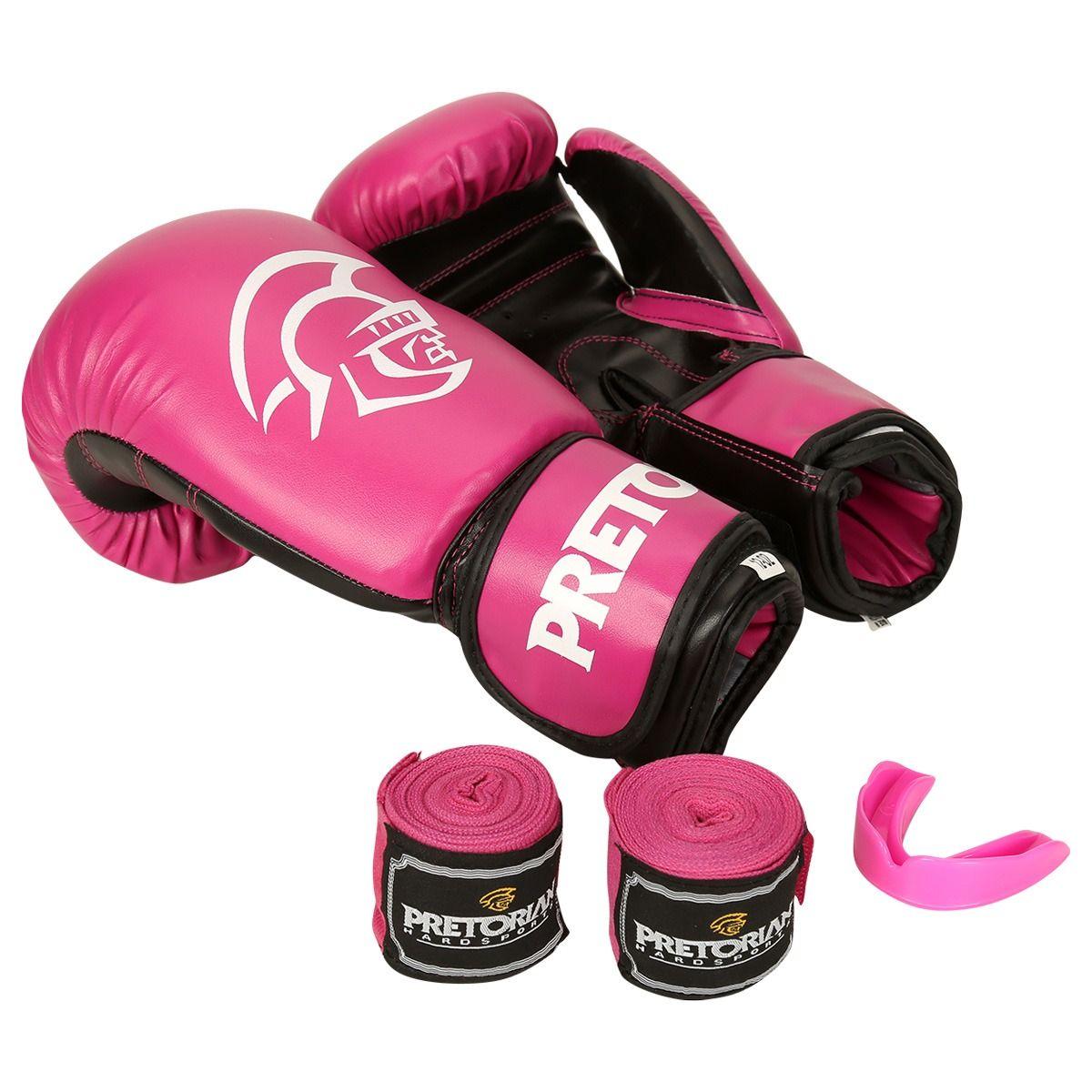 Kit de Boxe / Muay Thai Feminino 12oz - Rosa - First - Pretorian  - PRALUTA SHOP