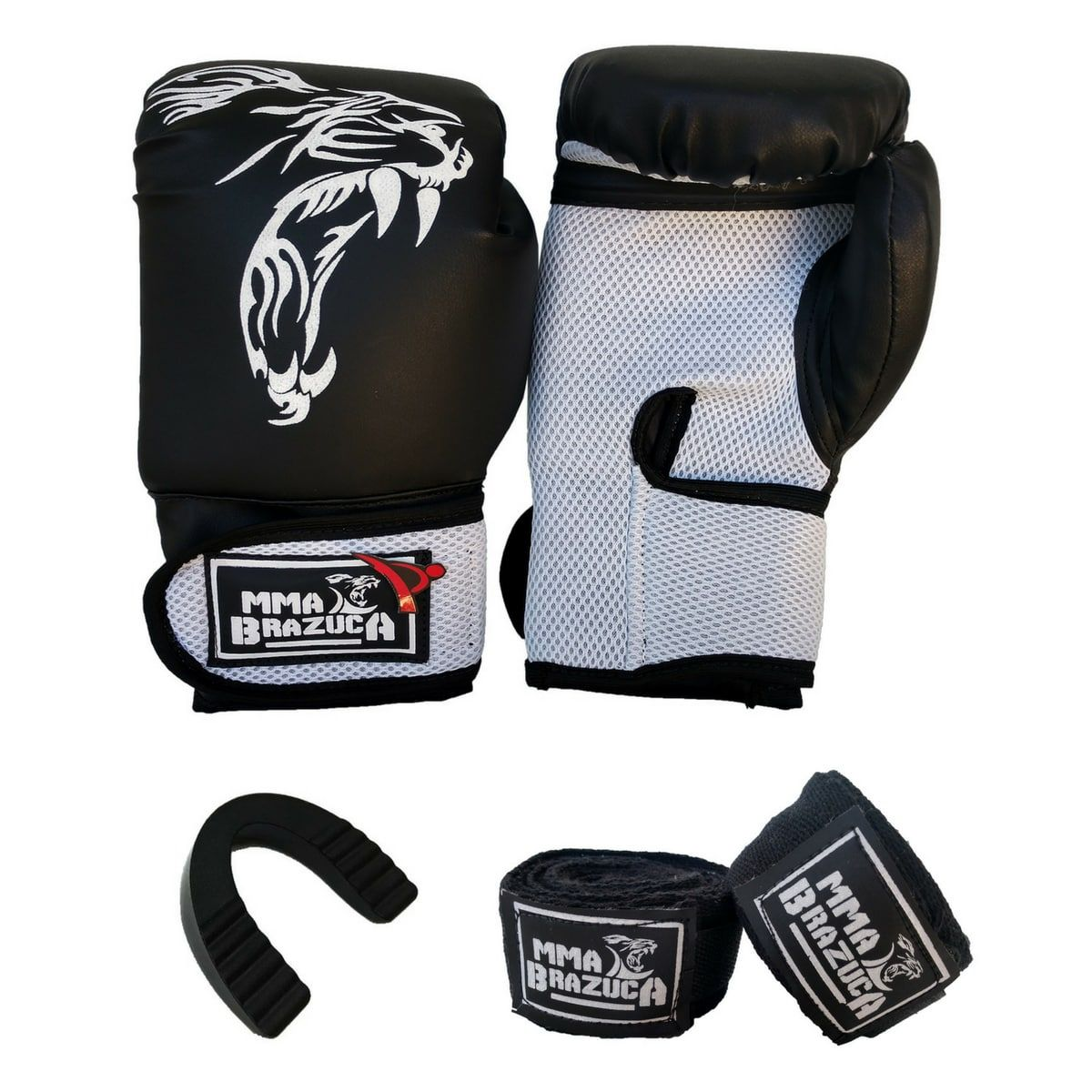 Kit de Boxe / Muay Thai 12oz - Preto com Branco - MMA Brazuka  - PRALUTA SHOP