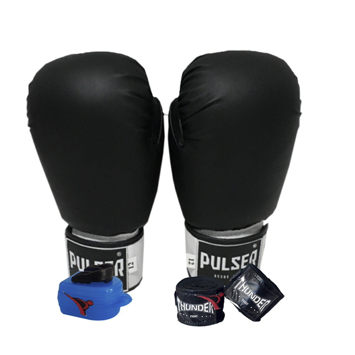 Kit de Boxe / Muay Thai 12oz - Preto - Pulser  - PRALUTA SHOP
