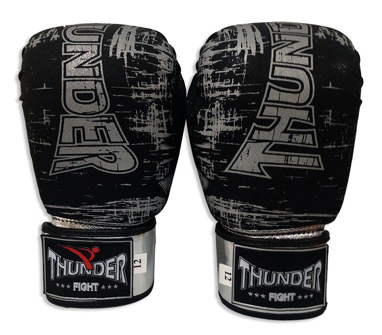 Kit de Boxe / Muay Thai 12oz - Preto Riscado Prata - Thunder Fight   - PRALUTA SHOP