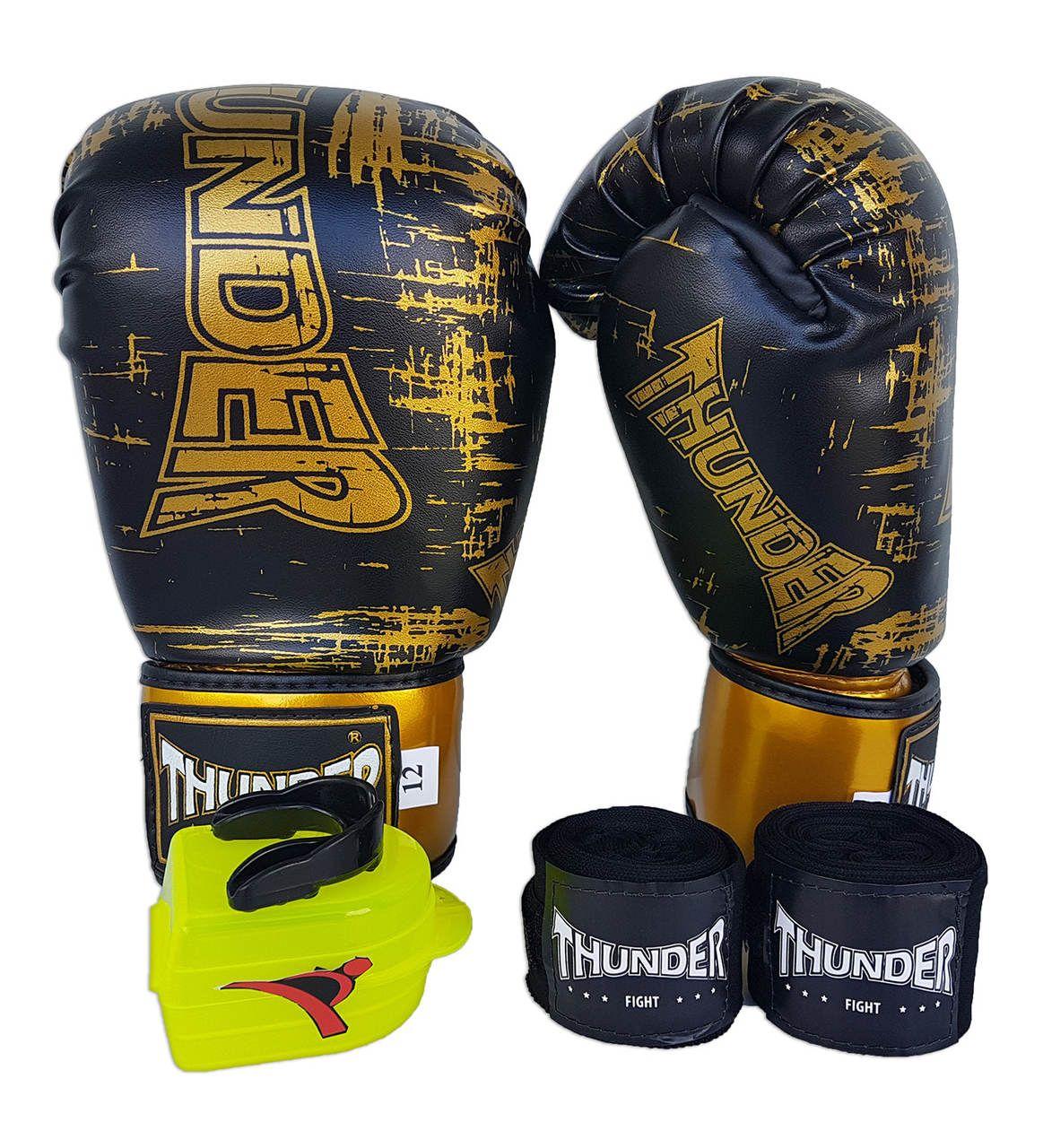 Kit de Boxe / Muay Thai 12oz - Preto Riscado - Thunder Fight   - PRALUTA SHOP
