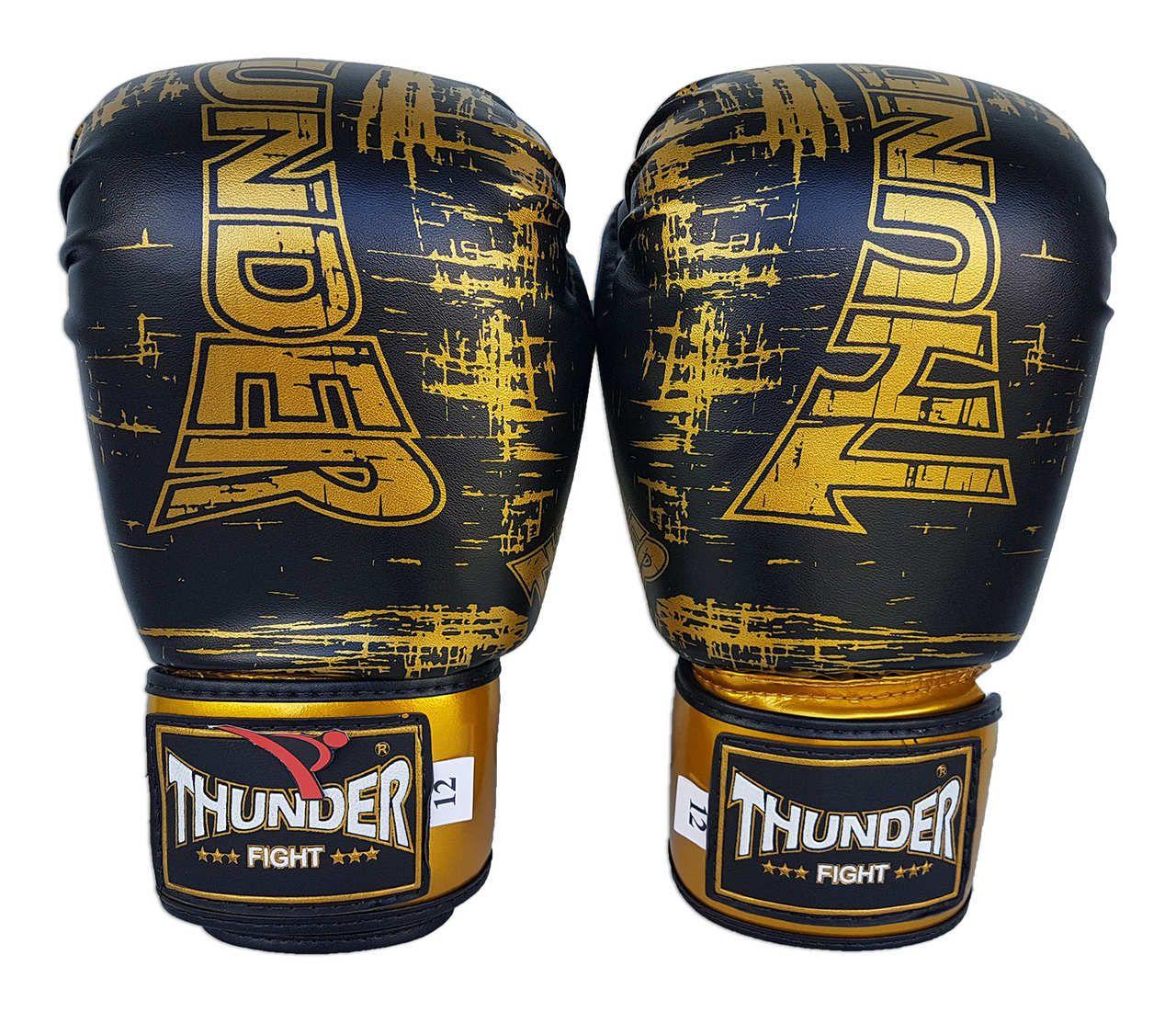 Kit de Boxe / Muay Thai 12oz - Preto / Dourado Riscado - Thunder Fight   - PRALUTA SHOP