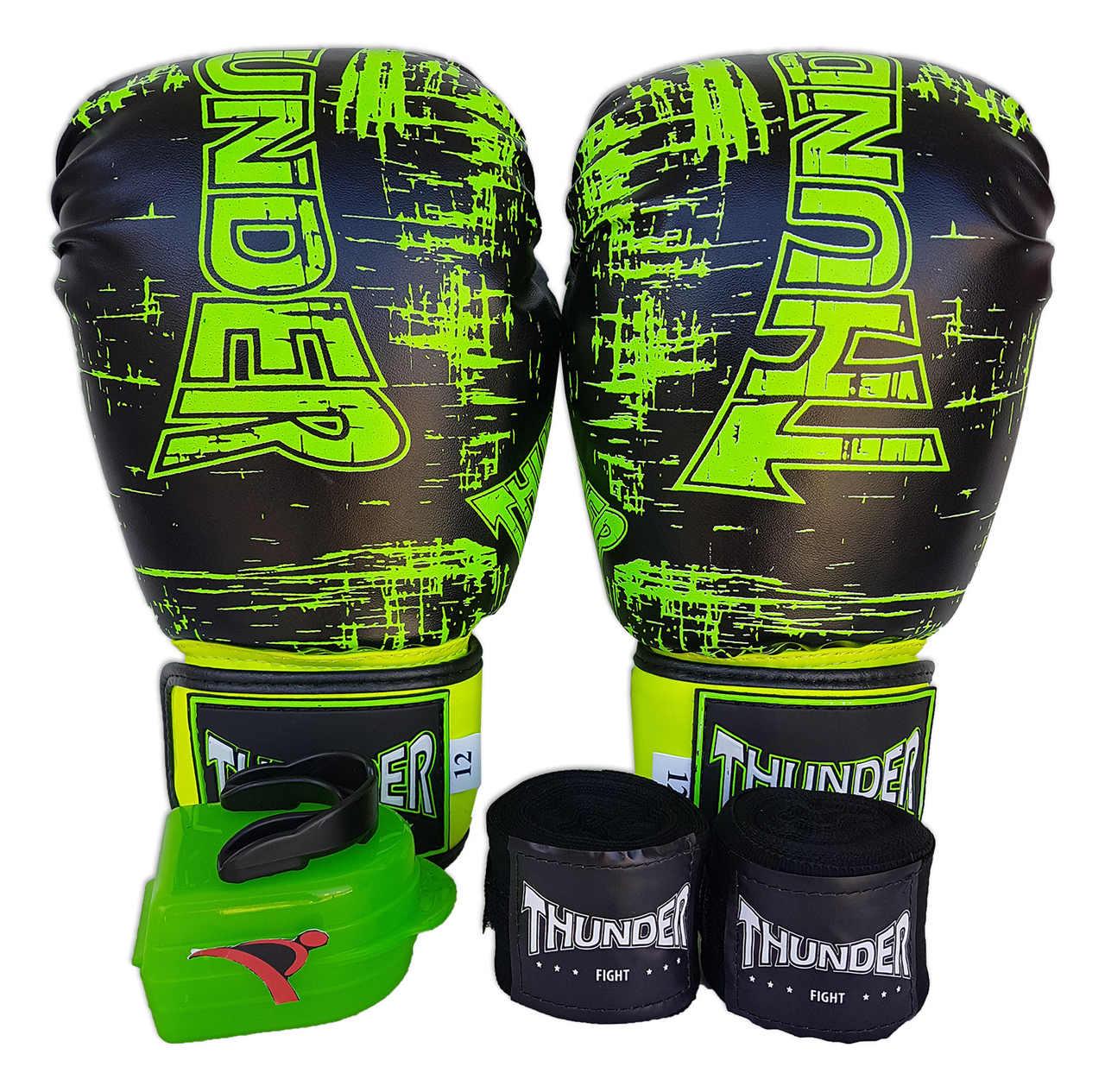 Kit de Boxe / Muay Thai 12oz - Preto Riscado Verde - Thunder Fight   - PRALUTA SHOP