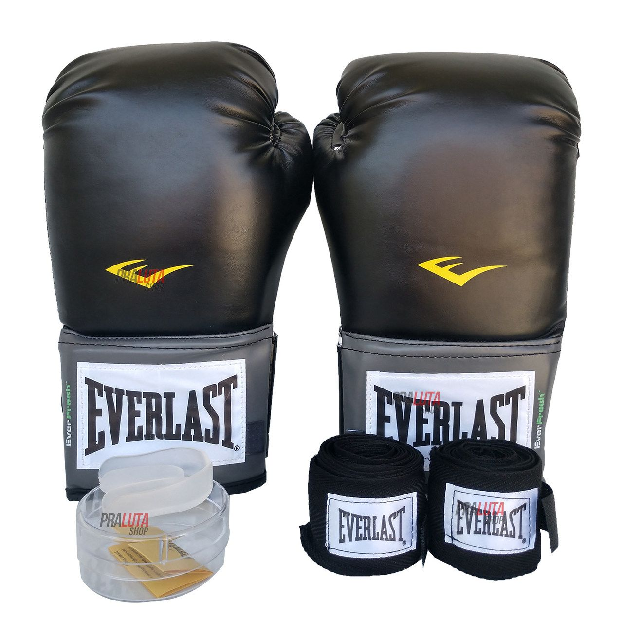 Kit de Boxe / Muay Thai 12oz - Preto - Training - Everlast  - PRALUTA SHOP