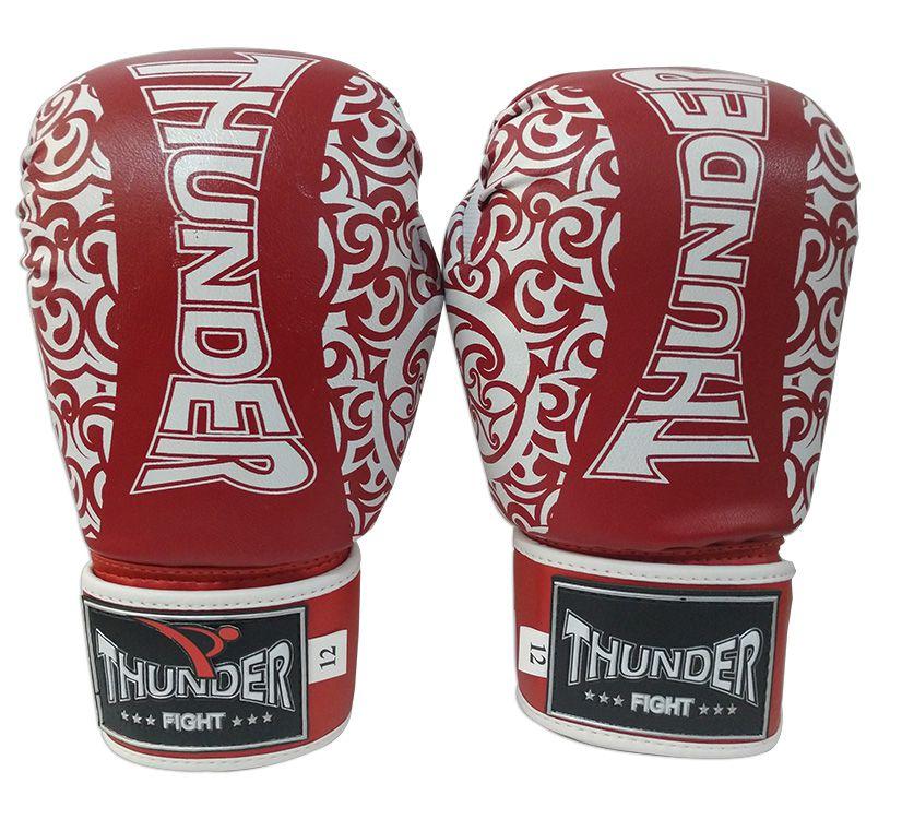 Kit de Boxe / Muay Thai 12oz - Vermelho com Branco Maori  - Thunder Fight   - PRALUTA SHOP