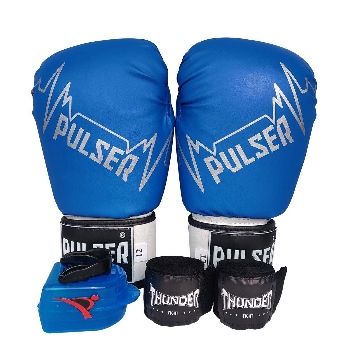 Kit de Boxe / Muay Thai 14oz - Azul Pulser Logo - Pulser  - PRALUTA SHOP