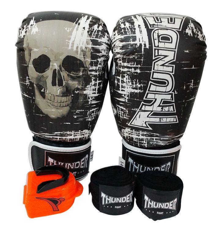 Kit de Boxe / Muay Thai 14oz - Caveira PT/BR - Thunder Fight   - PRALUTA SHOP
