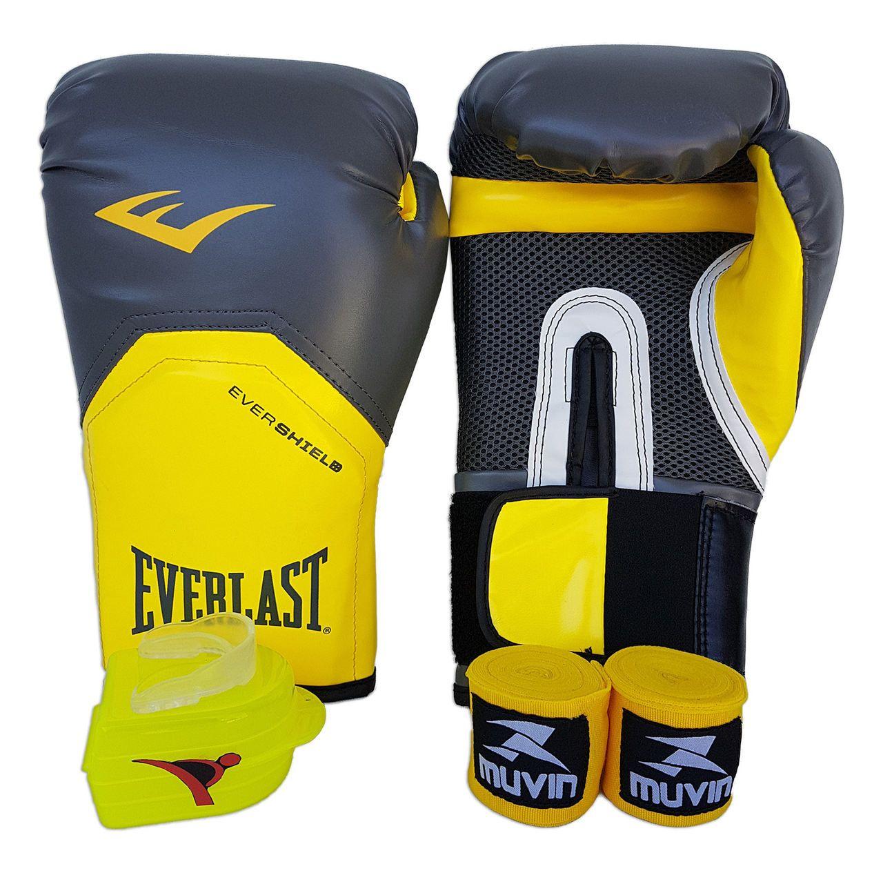 Kit de Boxe / Muay Thai 14oz - Cinza com Amarelo - Pro Style - Everlast  - PRALUTA SHOP