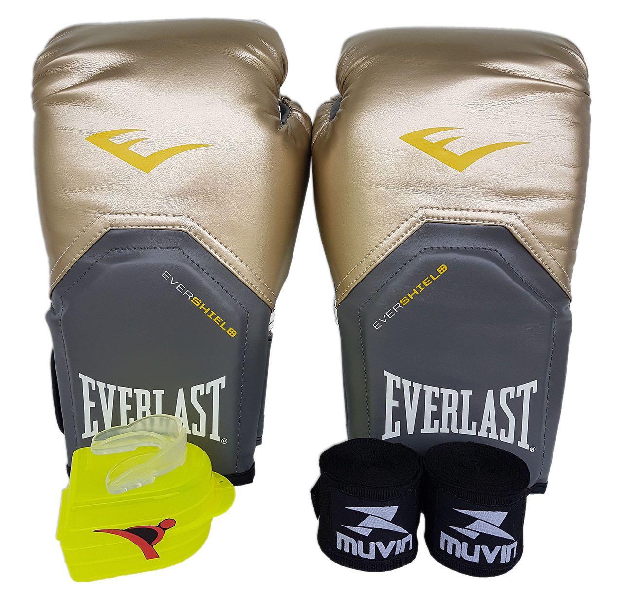 2a3a10d61 Kit de Boxe   Muay Thai 14oz - Dourado - Pro Style - Everlast - PRALUTA ...