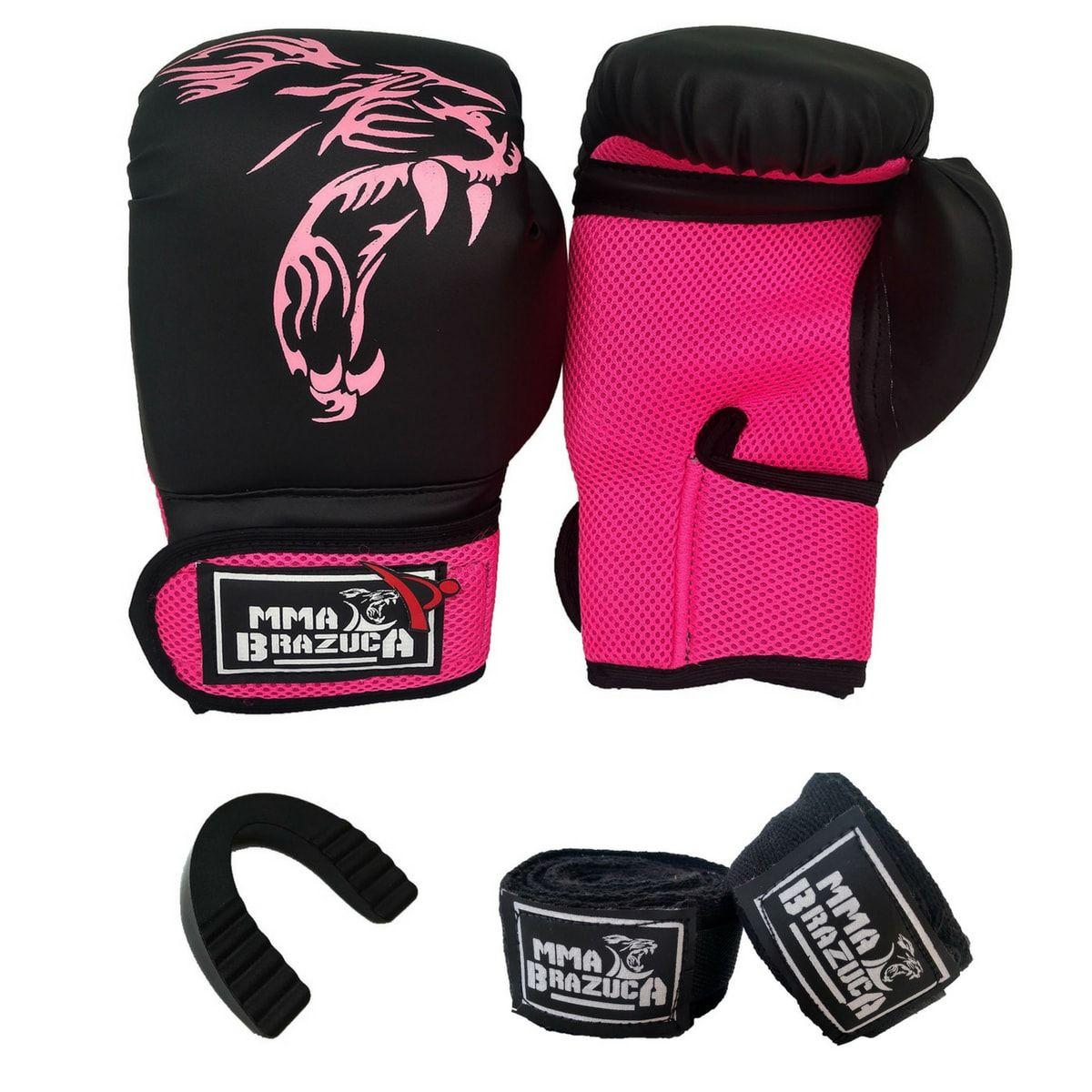 Kit de Boxe   Muay Thai 14oz Feminino - Preto com Rosa - MMA Brazuka ... 9e1eacc1d16f8