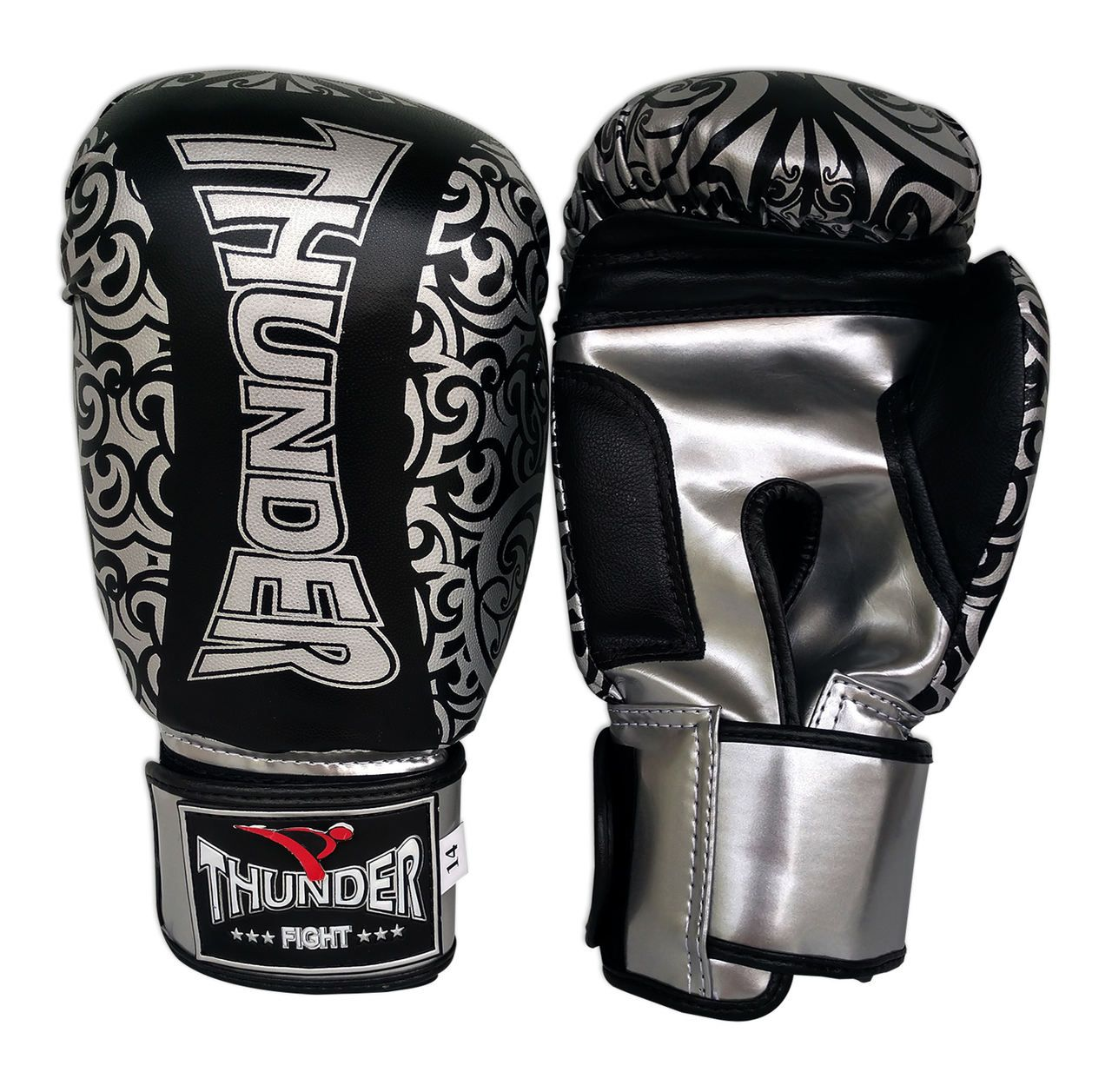 Kit de Boxe / Muay Thai 14oz - Preto com Prata Maori - Thunder Fight  - PRALUTA SHOP