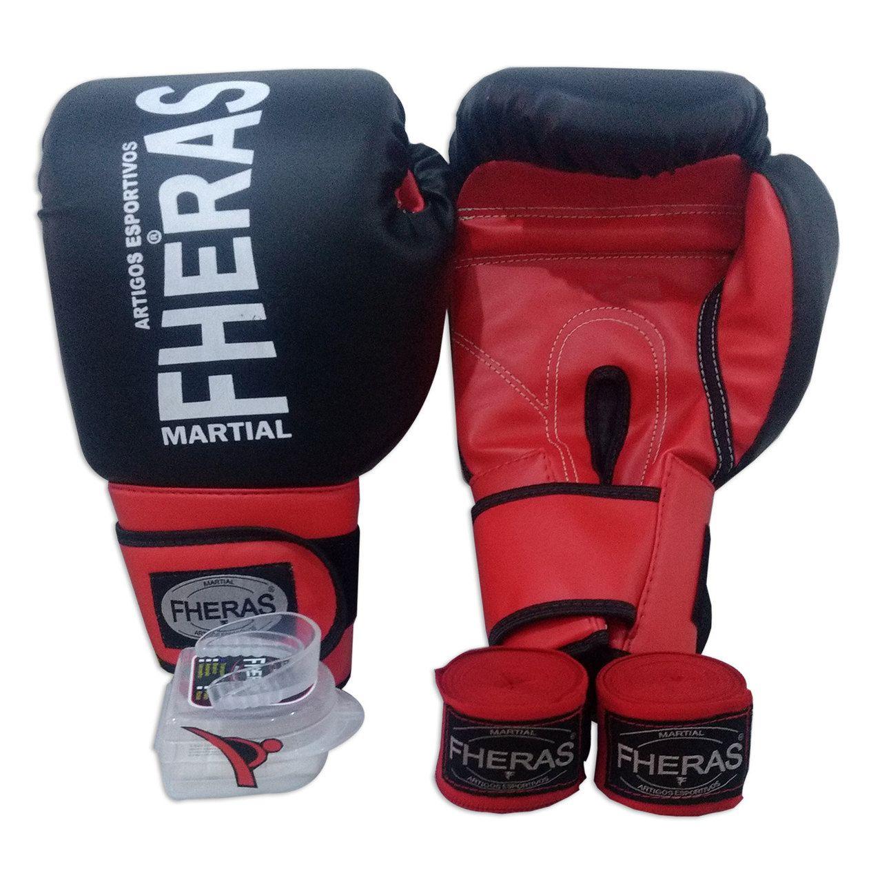 Kit de Boxe / Muay Thai 14oz  - Preto com Vermelho - Fheras  - PRALUTA SHOP
