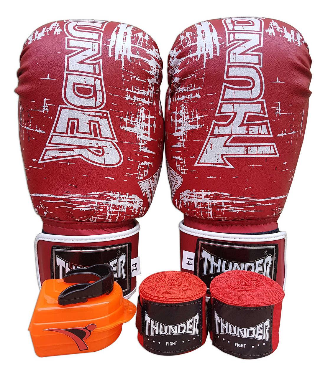 Kit de Boxe / Muay Thai 14oz - Vermelho Riscado - Thunder Fight   - PRALUTA SHOP