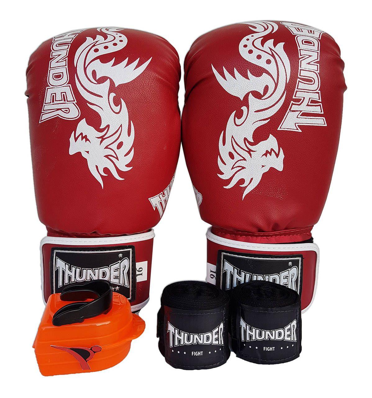 Kit de Boxe / Muay Thai 16oz - Vermelho Dragão - Thunder Fight  - PRALUTA SHOP