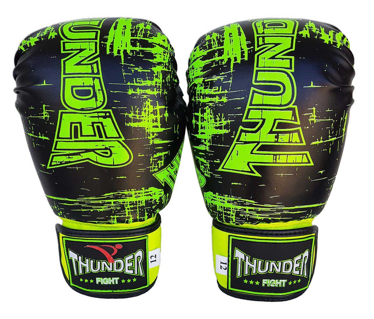 Kit de Boxe / Muay Thai 16oz - Preto Riscado Verde  - Thunder Fight  - PRALUTA SHOP