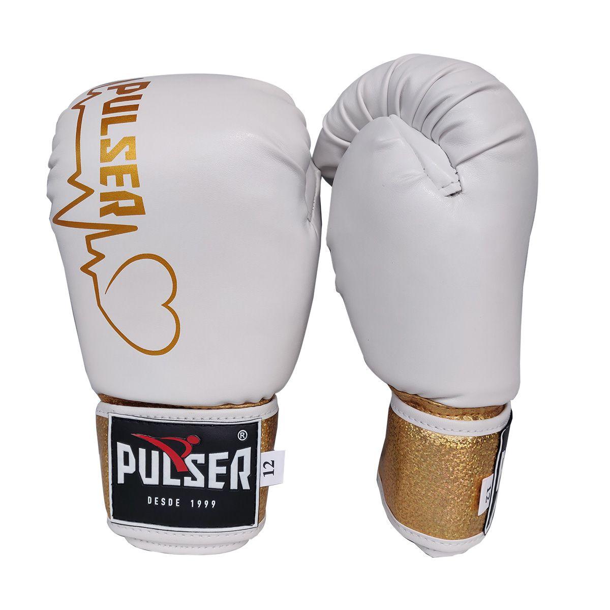 Kit de Boxe / Muay Thai Feminino 10oz - Branco e Dourado Coração - Pulser  - PRALUTA SHOP