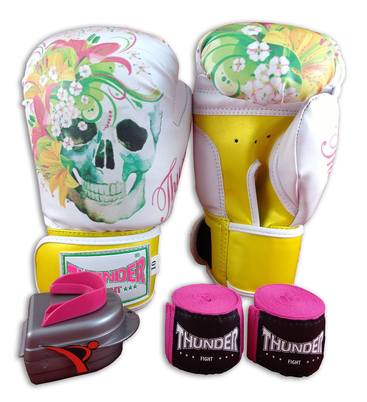 Kit de Boxe / Muay Thai Feminino 10oz - Caveira Amarela - Thunder Fight   - PRALUTA SHOP