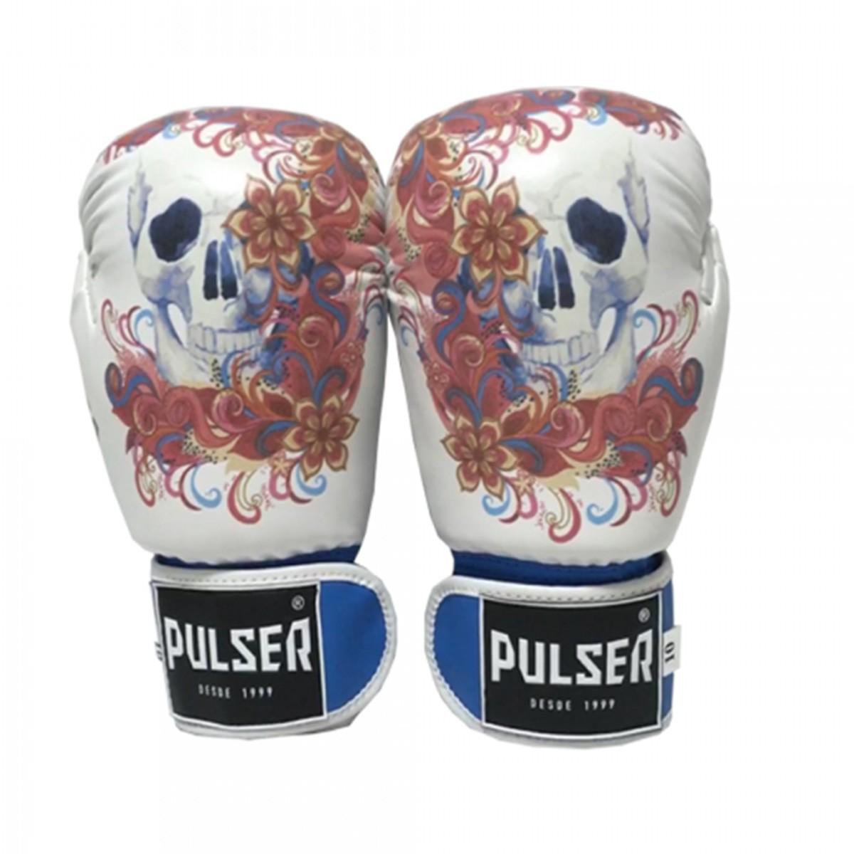 Kit de Boxe / Muay Thai Feminino 10oz - Caveira Azul Floral - Pulser  - PRALUTA SHOP