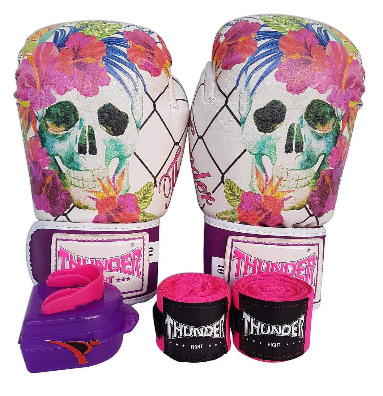 Kit de Boxe / Muay Thai Feminino 10oz - Caveira Grade - Thunder Fight   - PRALUTA SHOP