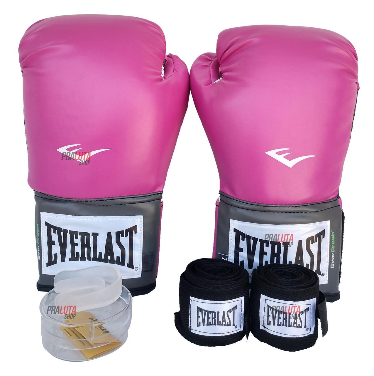 Kit de Boxe / Muay Thai Feminino 10oz - Rosa - Training - Everlast  - PRALUTA SHOP