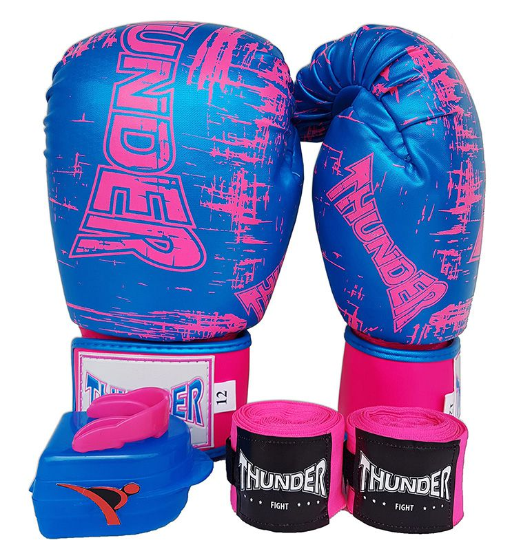 Kit de Boxe / Muay Thai Feminino 12oz - Azul Riscado Rosa  - Thunder Fight   - PRALUTA SHOP
