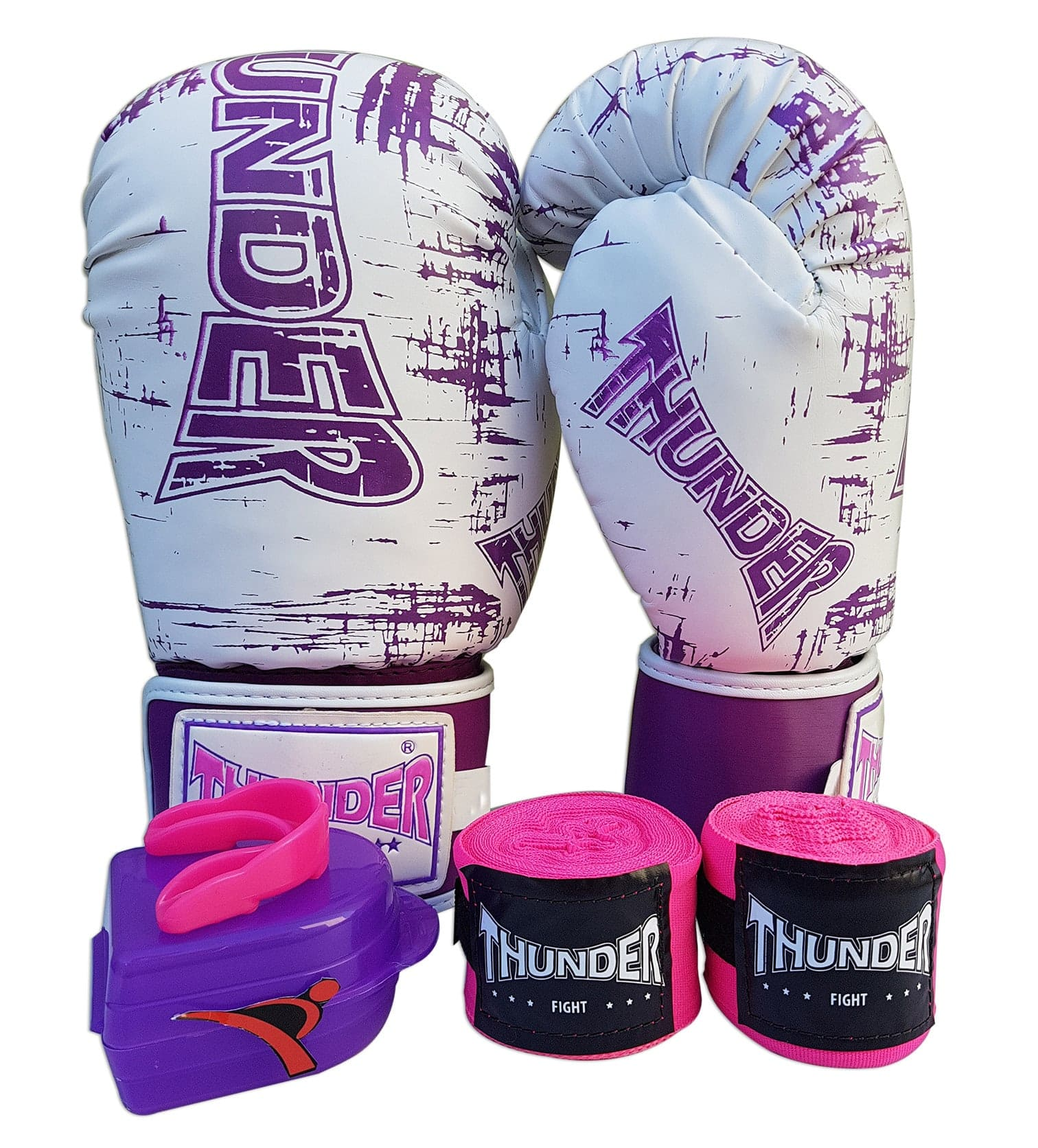 Kit de Boxe / Muay Thai Feminino 12oz - Branco Riscado Lilás  - Thunder Fight   - PRALUTA SHOP