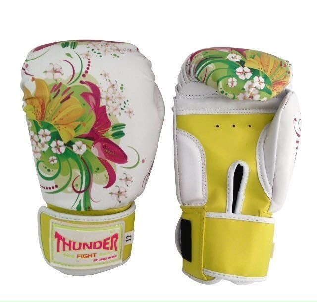 Kit de Boxe / Muay Thai Feminino 12oz - Caveira Amarela - Thunder Fight   - PRALUTA SHOP