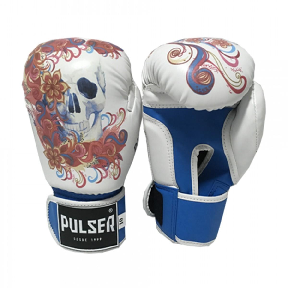 Kit de Boxe / Muay Thai Feminino 12oz - Caveira Azul Floral  - Pulser  - PRALUTA SHOP
