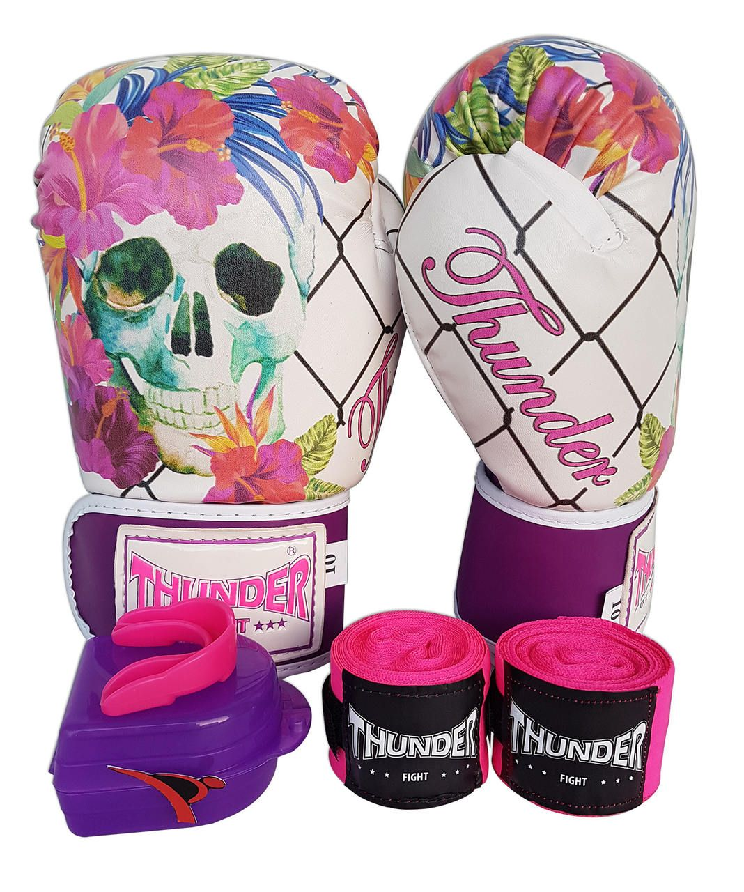 Kit de Boxe / Muay Thai Feminino 12oz - Caveira Grade - Thunder Fight   - PRALUTA SHOP