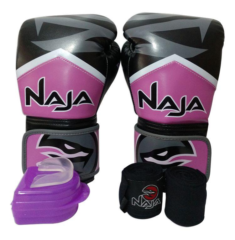 Kit De Boxe / Muay Thai Feminino 12oz - Preto com Rosa - New Extreme - Naja  - PRALUTA SHOP