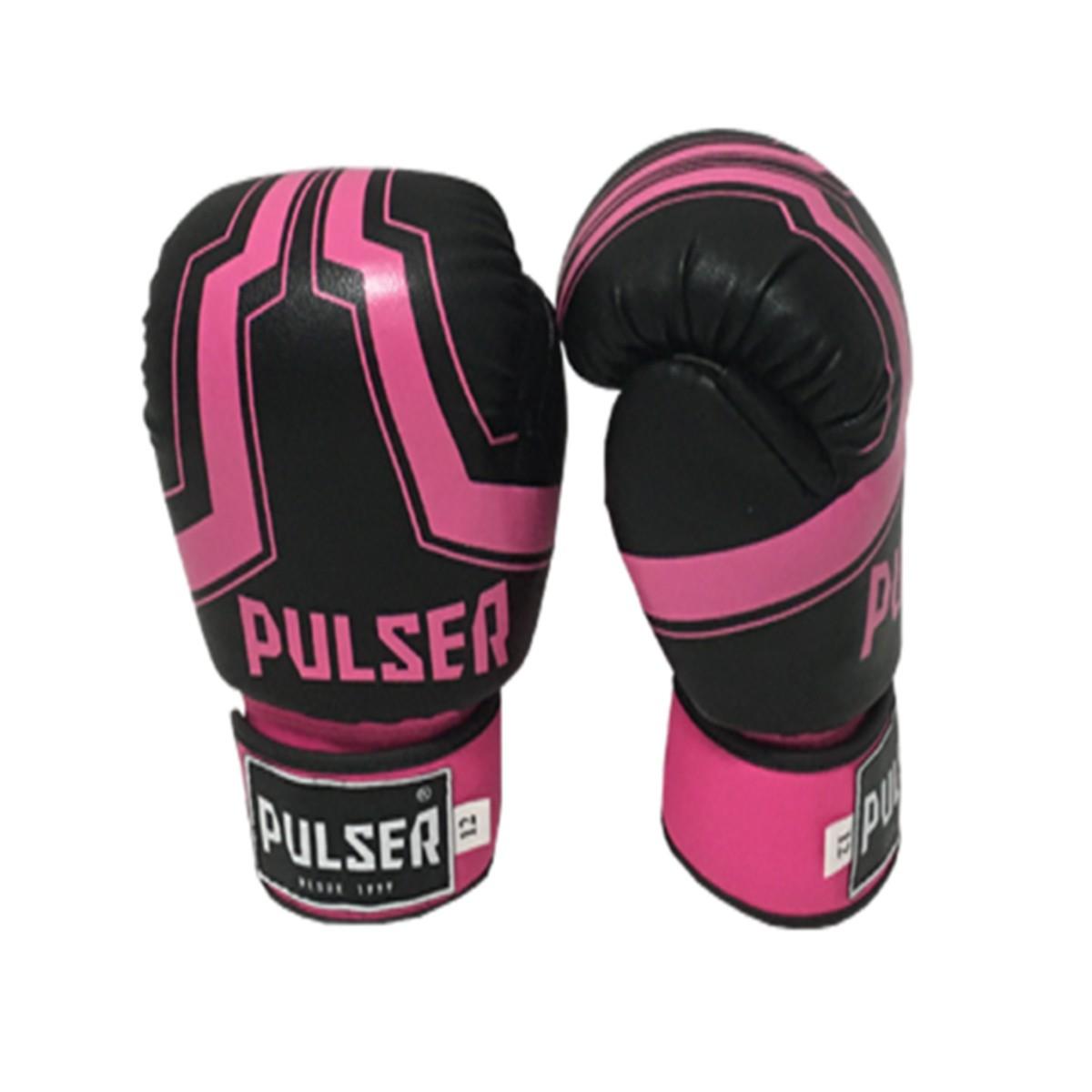 Kit de Boxe / Muay Thai Feminino 12oz - Preto e Rosa Iron  - Pulser  - PRALUTA SHOP