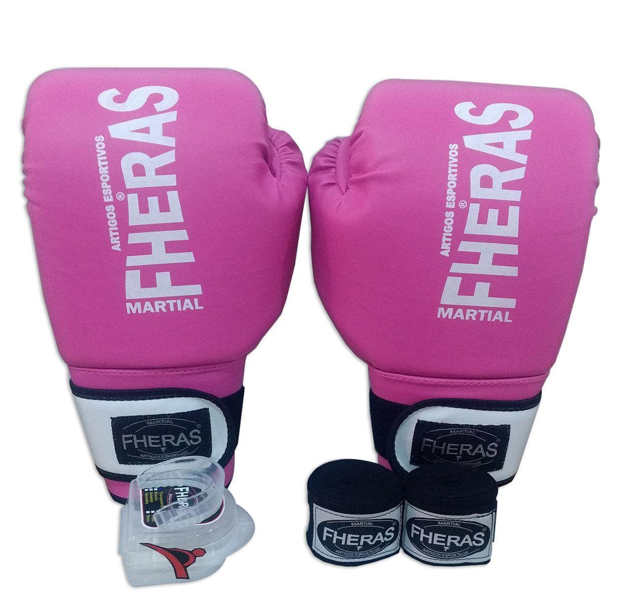 Kit de Boxe / Muay Thai Feminino 12oz - Rosa com branco - Fheras  - PRALUTA SHOP