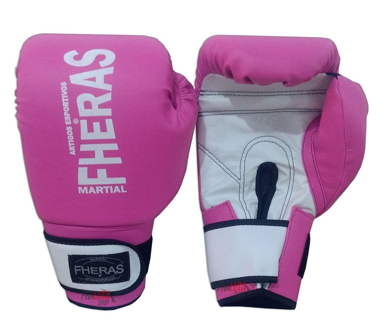Kit de Boxe / Muay Thai Feminino 14oz - Rosa com branco - Fheras  - PRALUTA SHOP