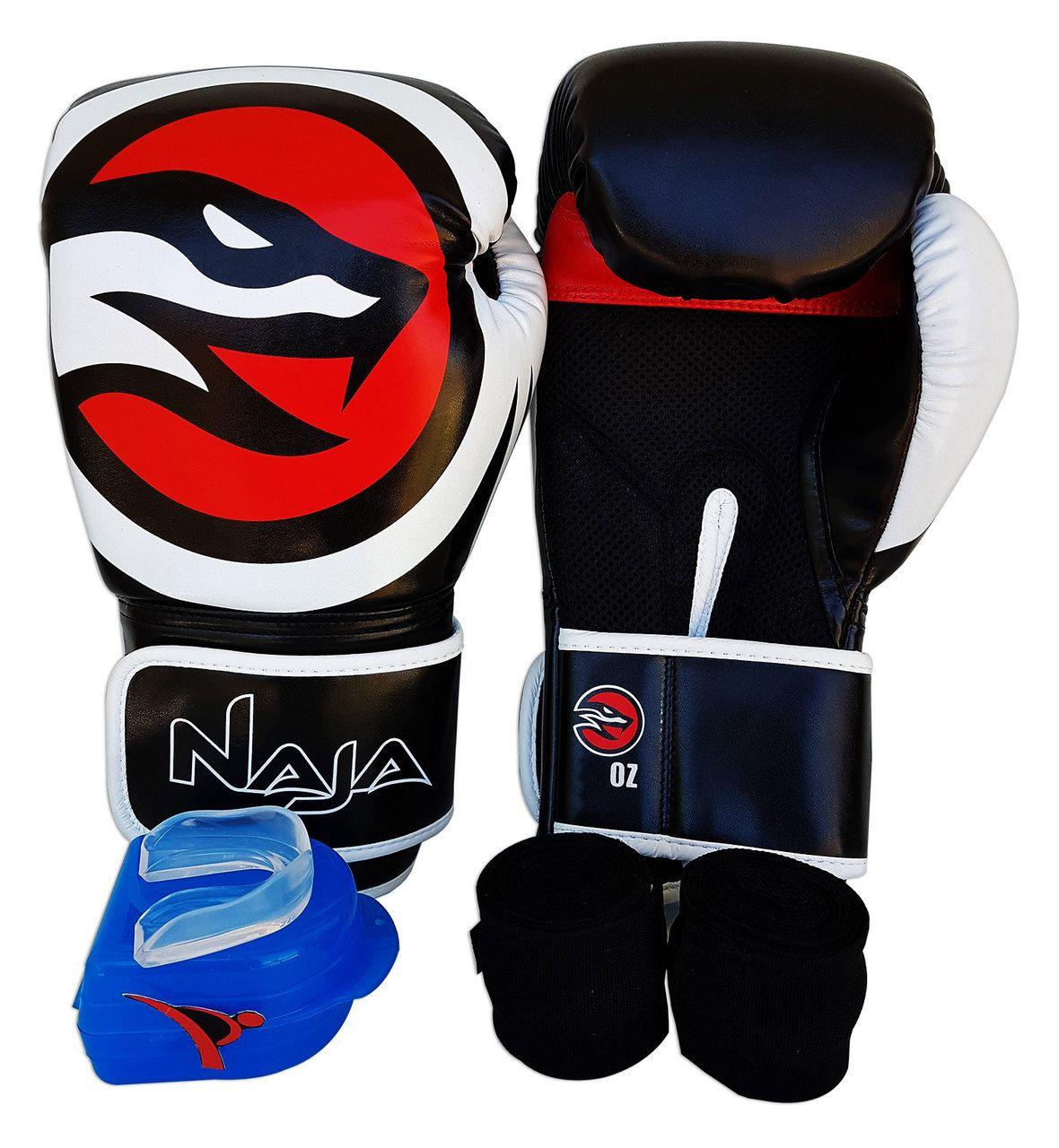 Kit De Boxe / Muay Thai 12oz - Preto - OPP - Naja  - PRALUTA SHOP