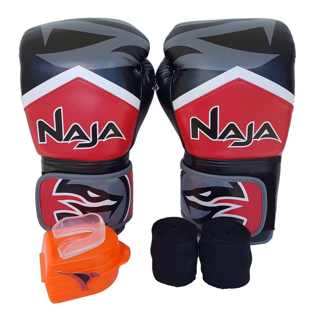 Kit De Boxe / Muay Thai 12oz - Vermelho - New Extreme - Naja  - PRALUTA SHOP