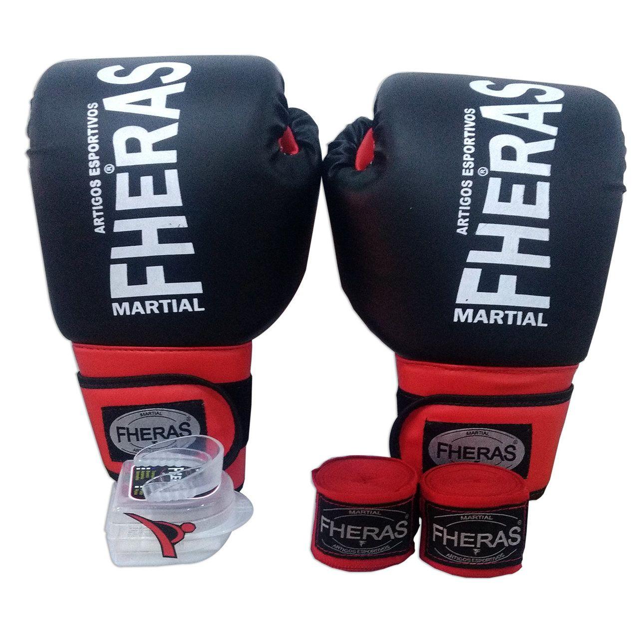 Kit de Boxe / Muay Thai 12oz - Preto com Vermelho - Fheras  - PRALUTA SHOP