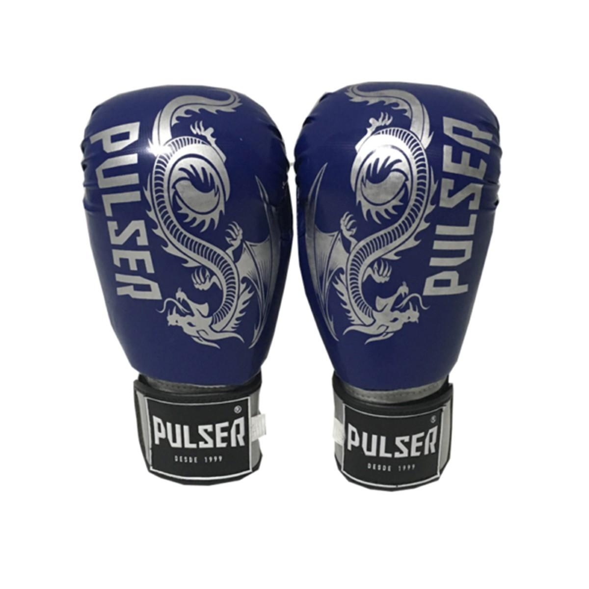 Kit de Muay Thai / Kickboxing 10oz - Azul Escuro Dragão - Pulser  - PRALUTA SHOP