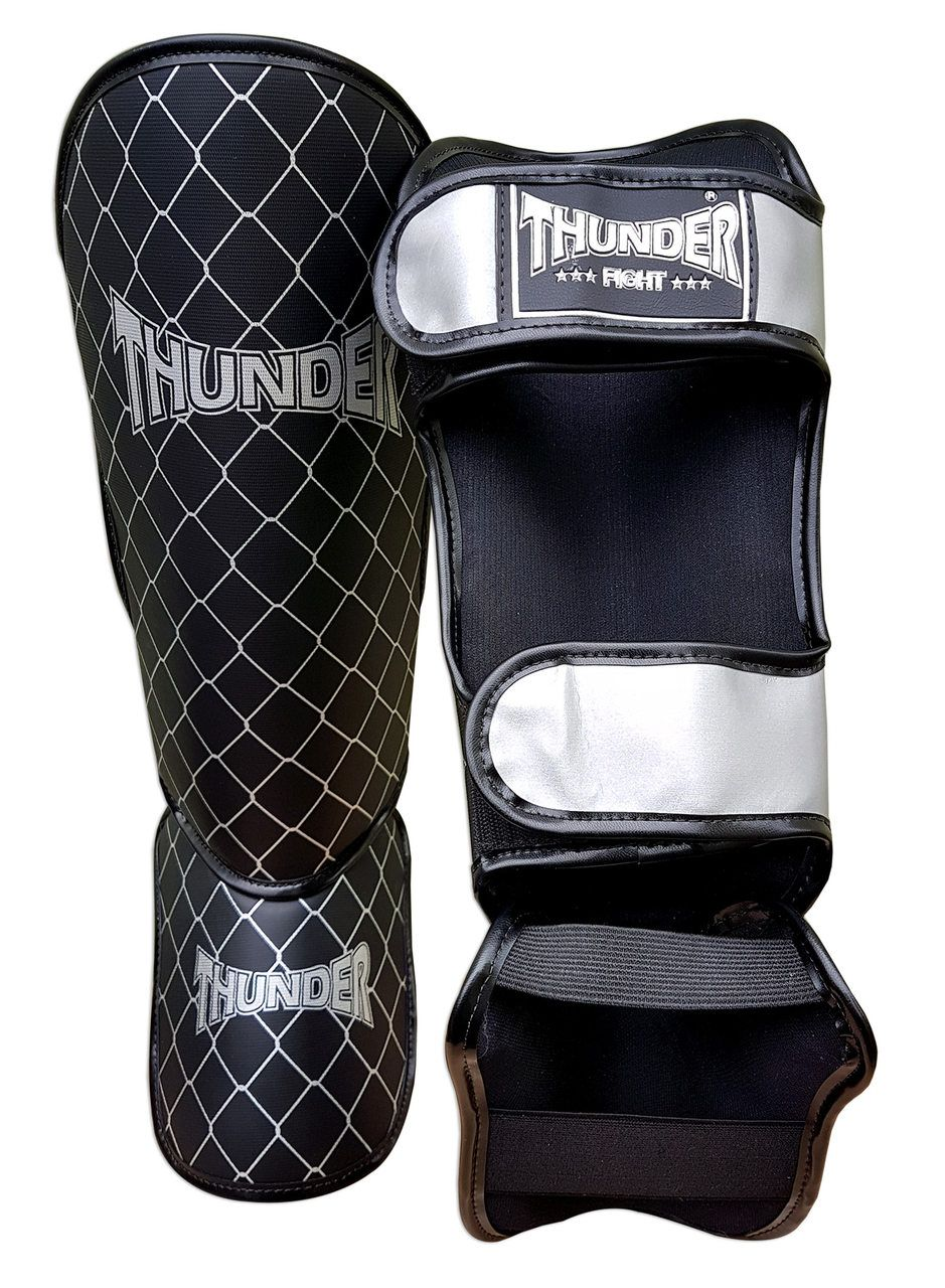 Kit de Muay Thai / Kickboxing 10oz - Branco Riscado Dourado - Thunder Fight  - PRALUTA SHOP