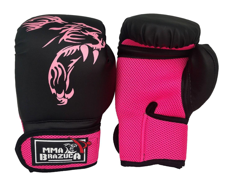 Kit de Muay Thai / Kickboxing 12oz Feminino - Preto com Rosa - MMA Brazuka  - PRALUTA SHOP