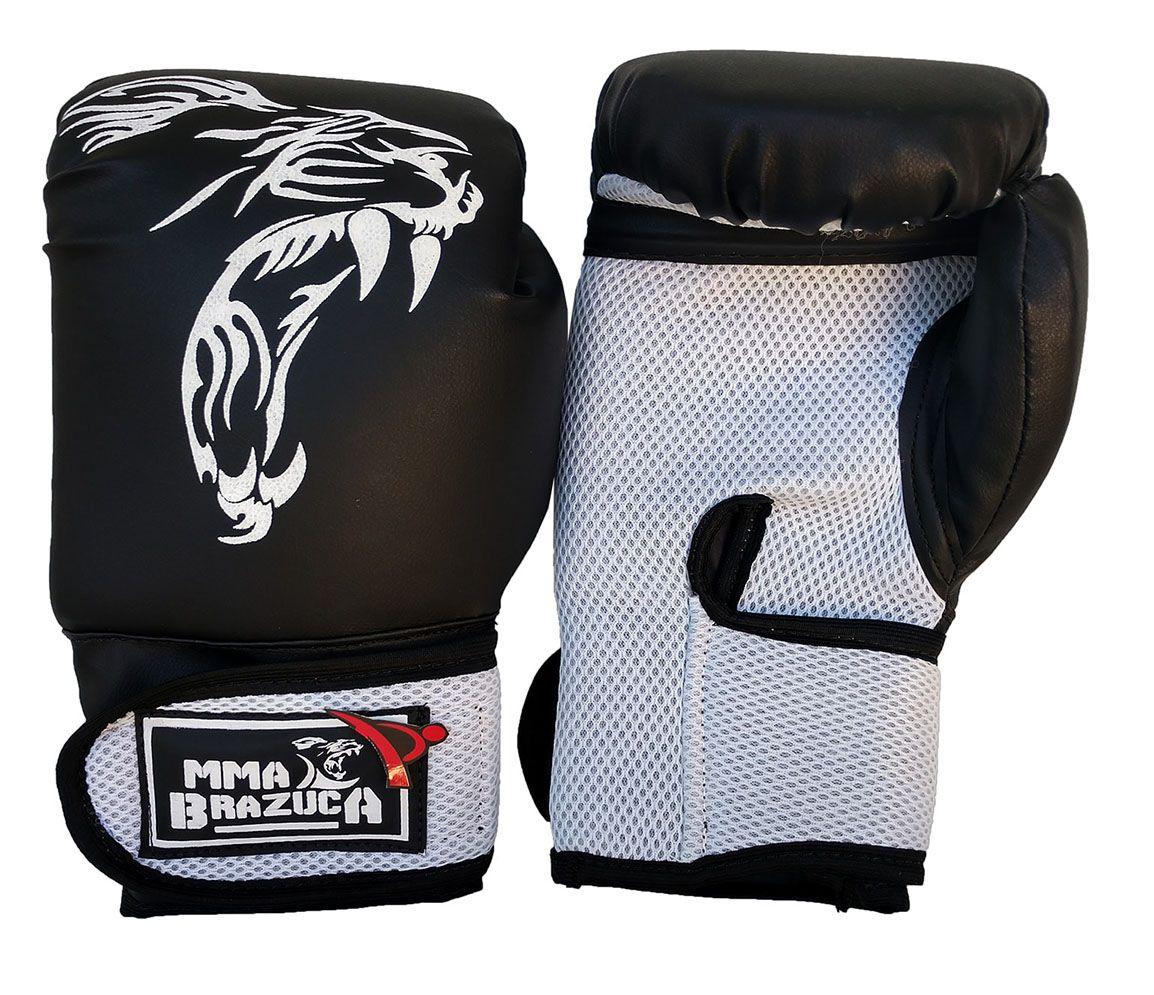 Kit de Muay Thai / Kickboxing 12oz - Preto com Branco - MMA Brazuka  - PRALUTA SHOP